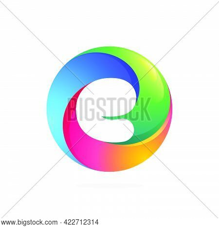 E Letter Logo Inside Swirling Loop Circle. Negative Space Style Icon. Colorful Gradient Emblem For Y