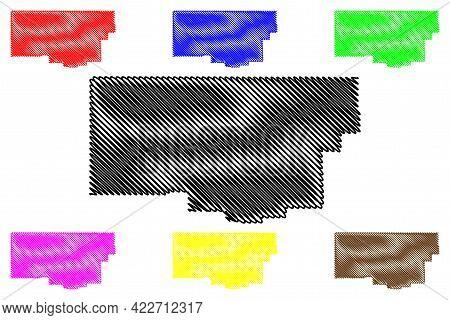 Iron County, State Of Utah (u.s. County, United States Of America, Usa, U.s., Us) Map Vector Illustr