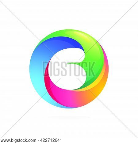 Number Six Logo Inside Swirling Loop Circle. Negative Space Style Icon. Colorful Gradient Emblem For