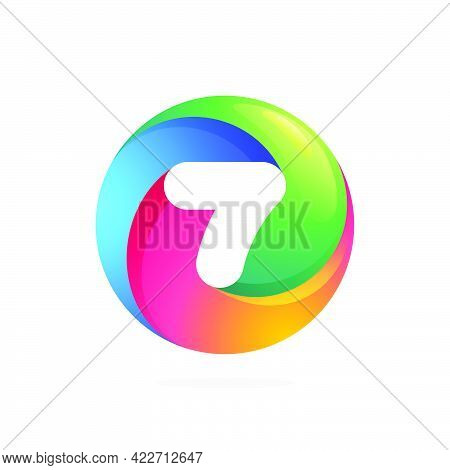 Number Seven Logo Inside Swirling Loop Circle. Negative Space Style Icon. Colorful Gradient Emblem F