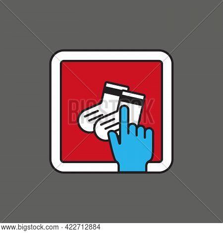 Short Socks Store Touch Mobile Shopping. Icon For App, Website, Or Advertising