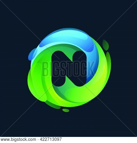 Eco-friendly N Letter Logo Inside A Swirl Green Circle. Negative Space Style Icon. Vector Font For V