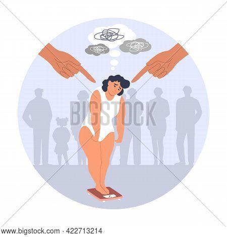 Human Fingers Pointing At Sad Overweight Woman, Vector Illustration. Social Pressure, Fat Shaming, V