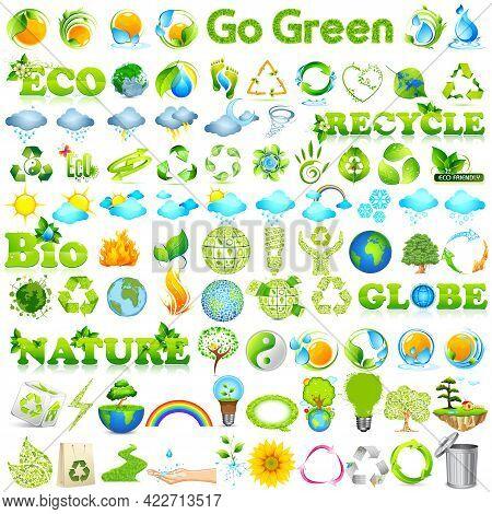 Set Of Environmental Eco Friendly Go Green Concept Icon Set Like Recycle, Reuse, Bio
