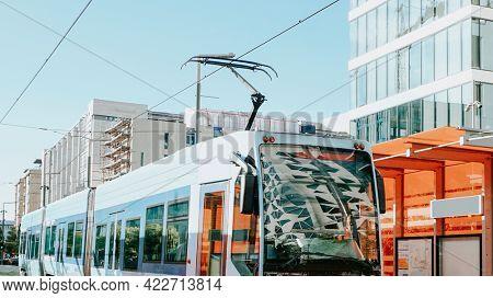 Blue tram in Oslo, Norway