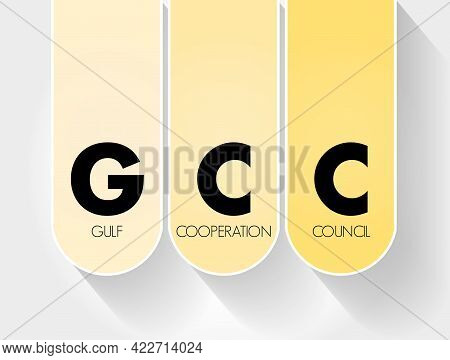 Gcc - Gulf Cooperation Council Acronym Business Concept Background