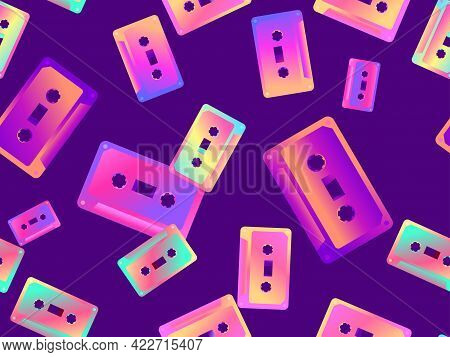 Cassette Tapes Seamless Pattern. Gradient Music Cassettes For Music Tape Recorders Of The 70s - 90s.
