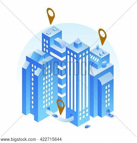 Isometric Modern City 3d Location On Map With Navigation Mark Vector Illustration. Urban Landmarks W