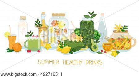 Summer Healthy Drinks Set. Vector Beverage Banner. Elements Collection Isolated On White. For Detox,