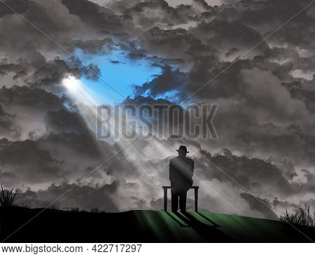 A Old Man In A Fedora Sits On A Bench In Front Of A Wall Of Storm Clouds But A Glimmer Of Sunlight S
