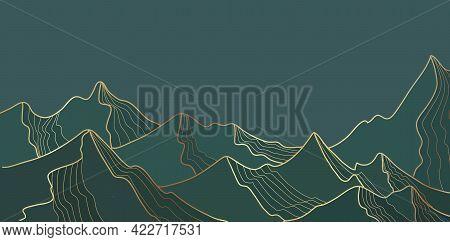Golden Mountain Line Landscape, Wallpaper Mountainous Design For Print. Alpine Abstract View Vector