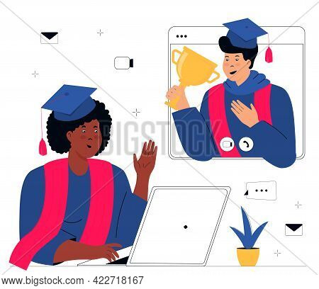 A Virtual Graduation Ceremony. Graduates Students Make A Conference Video Call. A Girl In Gown And M