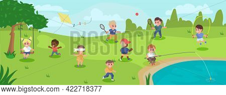 Children Playing Outside In The Park Vector Illustration