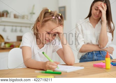 Mom Is Angry Because Her Daughter Dont Want To Do Homework. Parents Teaching Kids At Home, Home Scho