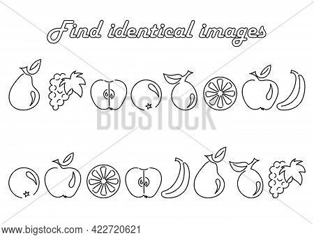 Find The Same Pictures-educational Game For Children. Set With Fruit Silhouettes . Apple Pear Plum P