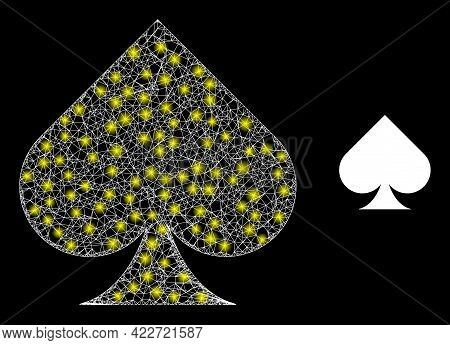 Glossy Network Playing Card Spade Suit With Light Spots. Wire Frame 2d Network Generated With Crosse