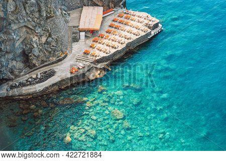 Positano Beach On The Amalfi Coast In Italy. Top Down Aerial View. Amalfi Coast Is Most Popular Trav