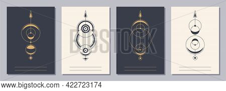 Set Of Flyers, Posters, Placards, Brochure Design Templates A6 Size With Geometric Icons. Symbols Of