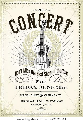 Vector Vintage Concert Poster. Easy to edit. All layers are separated.
