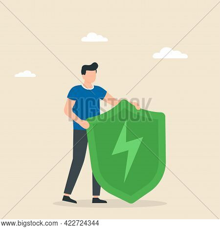 Cyber Or Web Security Concept. Green Shield With Lightning. Antivirus And Saving Documents. Vector I