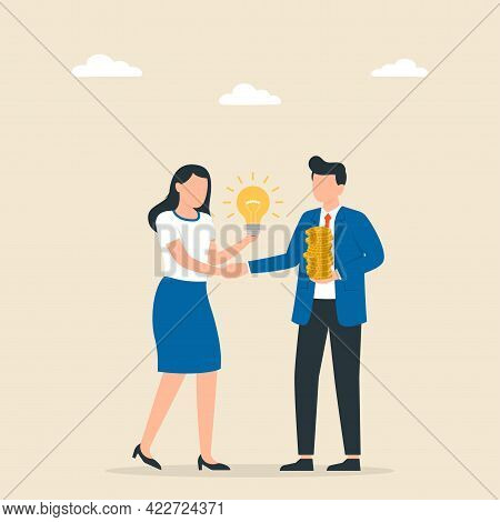Man And Woman Shaking Hands With Successful Deals Idea. Partnership Concept. Making A Deal. Vector I