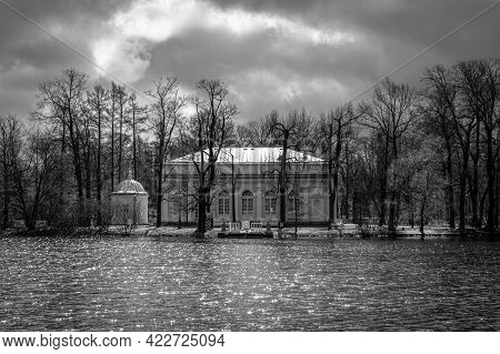 Hall On The Island Pavilion During Stormy Weather In The City Of Pushkin (tsarskoye Selo), Russia. B