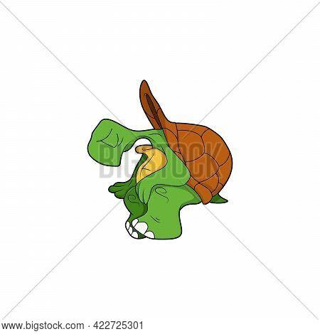 Cartoon Character. Turtle Sitting. Isolated On White Background. Animal Theme. Vector Illustration.