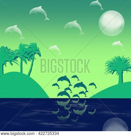 Tropical Islands With Palm Trees, Sunshine, Clouds-dolphins And Jumping Dolphins In The Sea Flat Ill