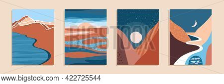 Abstract Contemporary Aesthetic Landscape, Bohemian Modern Background