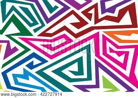 Triangle Infinity strange rainbow tribal maze seamless pattern vector background