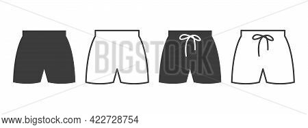 Shorts Icons. Beach Shorts Icons Of Different Styles. Clothing Symbol Concept. Vector Illustration
