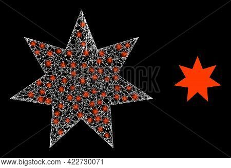 Flare Net Seven Pointed Star With Glowing Spots. Linear Frame 2d Network Generated With Crossed Whit