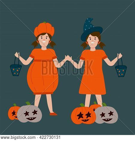 A Halloween Poster With Kids. Postcard For The Autumn Holiday Of Horror Stories. People In A Pumpkin
