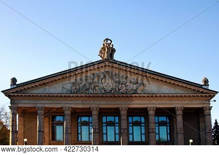 Ternopil, Ukraine-may 11, 2021:detailed View The Rooftop Of Academic Drama Theatre Of Taras Shevchen