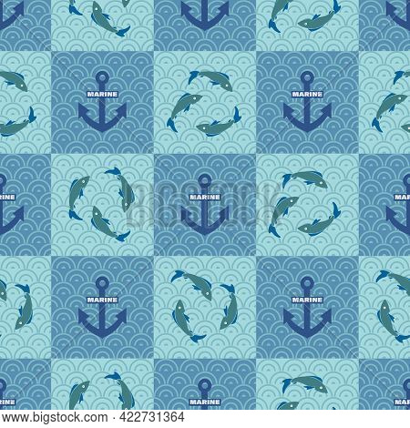 Fish, Anchors. Marine Wave Background. Vector Geometric Template. Seamless Pattern For Textile