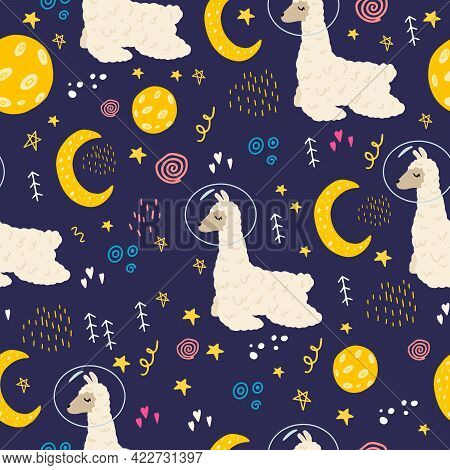 Seamless Pattern With A Llama In Space. Vector Illustration With Space, Stars, Lama, Moon. Flat Dood