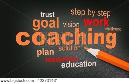 Coaching Word Cloud Arrangement With Yellow Pencil Besides. Coaching Mentorship Planning Concept.
