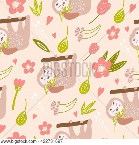 A Seamless Pattern With A Cute Sloth On A Tree. Vector Illustration With A Sloth For Decorating A Ch