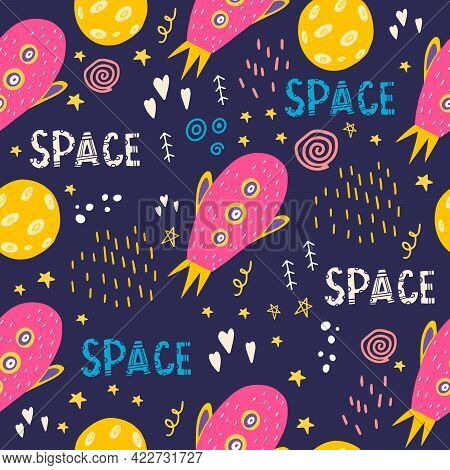 Seamless Pattern With Pink Spaceship And Moon. Vector Illustration With Space, Stars, Space Objects,
