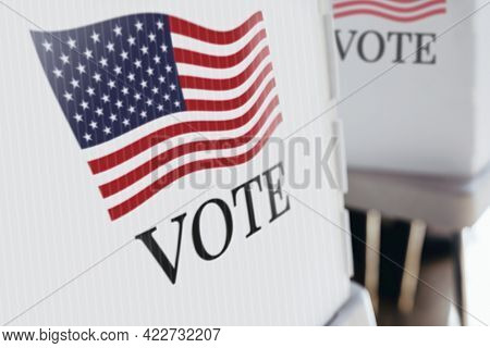 American flag printed on a polling booth