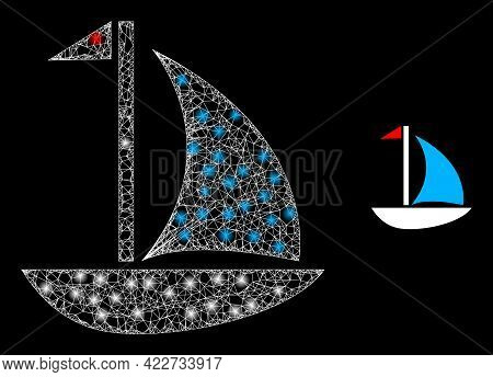 Glowing Network Sail Boat With Glowing Spots. Linear Carcass 2d Mesh Generated With Crossed White Li