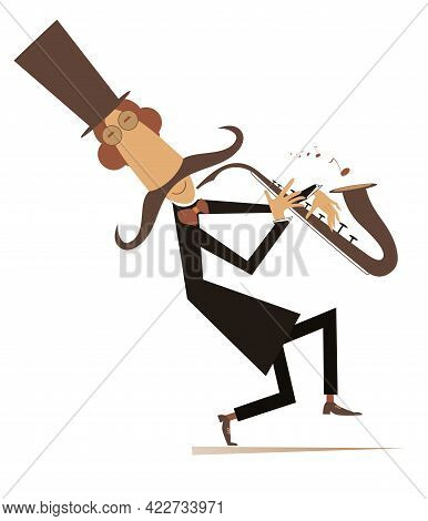 Cartoon Long Mustache Saxophonist Illustration.  Smiling Mustache Man In The Top Hat Is Playing Musi