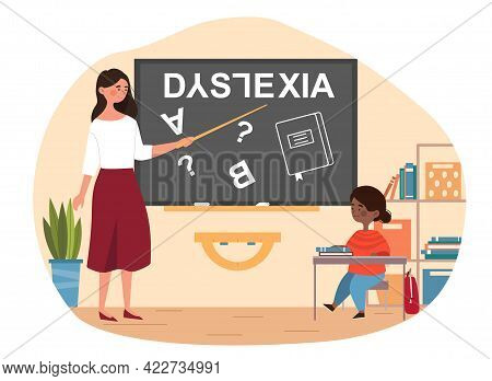 Young Girl Suffering With Dyslexia Is Having Difficulty In Reading At School. Concept Of Dyslexia, L