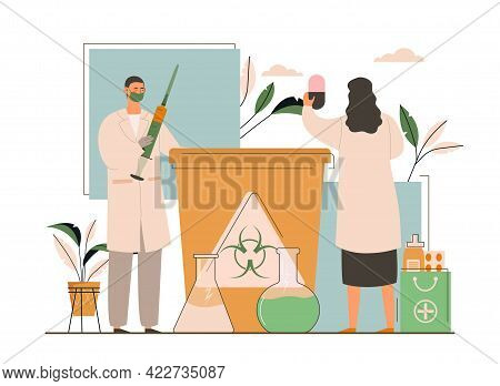 Male And Female Doctors Throwing Away Medical Waste. Concept Of Biological Hazard And Hospitals Recy