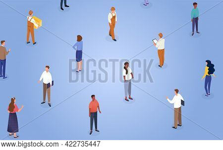Diverse Male And Female Characters Following Social Distance Rules. Concept Of Social Distancing For