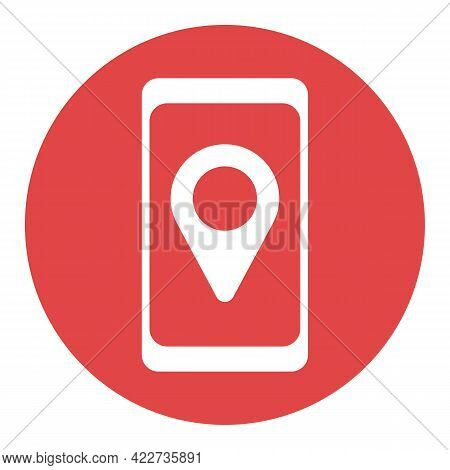 Smartphone With Pin Location Style White Glyph Icon Vector. Navigation Sign. Graph Symbol For Travel