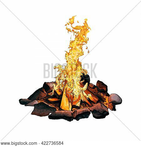 Bonfire Surrounded By Stones, Colored Drawing, Realistic. Vector Illustration Of Paints