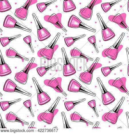 Seamless Surface Pattern With Hand-drawn Ink Sketch Nail Polish Bottles, Bright Pink Accents On Whit