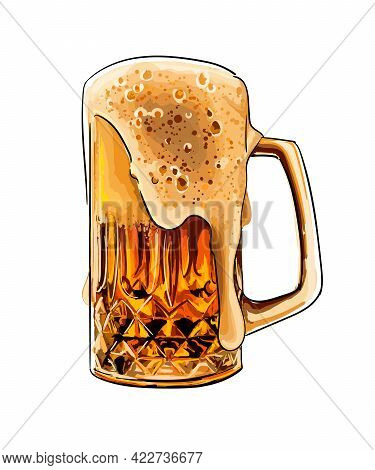 Beer Mug, Beer Glass With Foam Colored Drawing, Realistic. Vector Illustration Of Paints