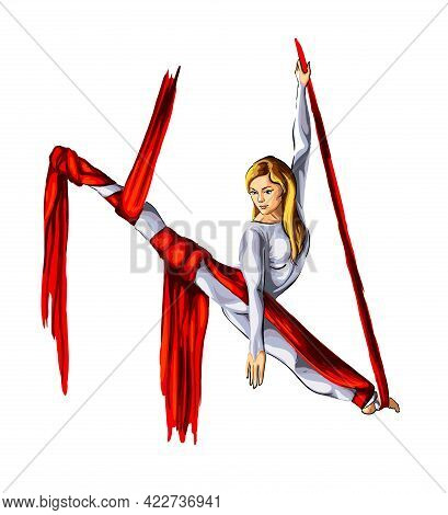 Aerial Gymnastics, Acrobatics On Canvases, Colored Drawing, Realistic. Vector Illustration Of Paints